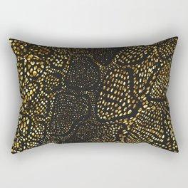 Black Gold Snake Skin Rectangular Pillow