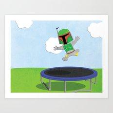 SW Kids - Boba Fett Jump Art Print