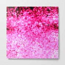 Fuchsia Pink Pixels Metal Print