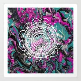 Lucid Liquid Acacia Mandala Raspberry Teal Art Print