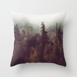 Mountain Morning Mist - Nature Photography Throw Pillow