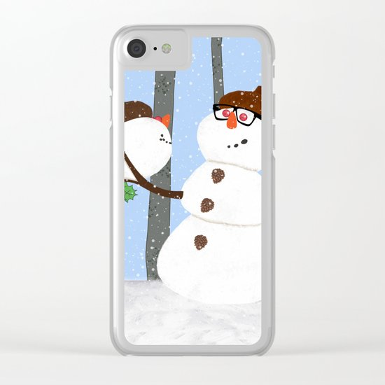 Snowman Funny Holiday Design Clear iPhone Case