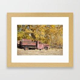 Red Truck in Fall Framed Art Print