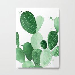 Green Paddle Cactus II Metal Print