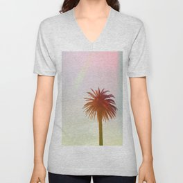 Tropical, Palm, Nature, Pink, Scandinavian, Minimal, Modern, Wall art Unisex V-Neck