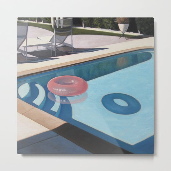 Pink Pool Inner Tube Metal Print