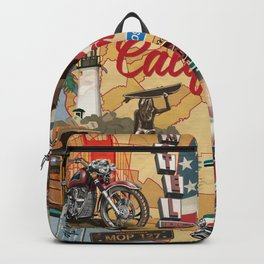 Vintage California poster with tourist attractions on map silhouette background. Backpack