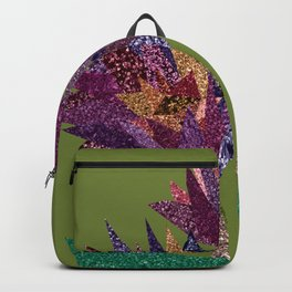 Purple flower bunch with pot (olive) Backpack