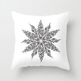 Calligraphic Snowflake Throw Pillow