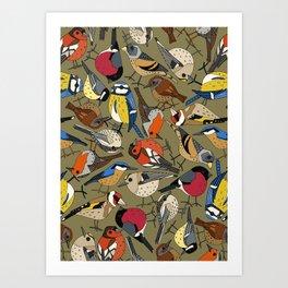 winter garden birds olive Art Print