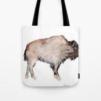 buffalo Tote Bags featuring Buffalo by Elena Sandovici