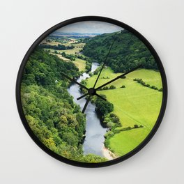 Spectacular English landscapes featuring river and hills Wall Clock