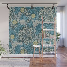 William Morris,art nouveau pattern, seaweed,blue,florals,vintage Wall Mural