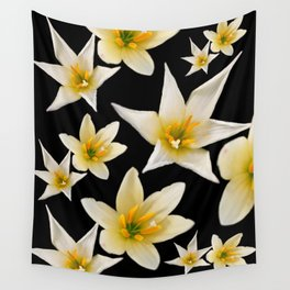 White flowers with pattern Wall Tapestry