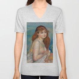 """Auguste Renoir """"Après le bain (Petite Baigneuse)"""" Unisex V-Neck"""