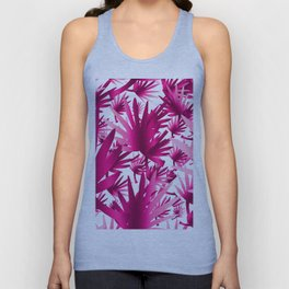 Modern tropical pink fuchsia leaves floral Unisex Tank Top