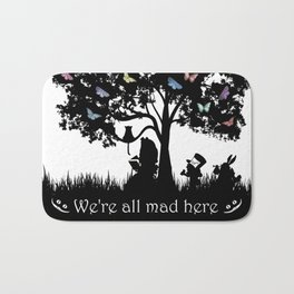 We're All Mad Here III - Alice In Wonderland Silhouette Art Bath Mat