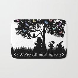We're All Mad Here III - Alice In Wonderland Silhouette Art Bath Mat