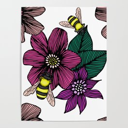 Bright Floral with Bees Poster