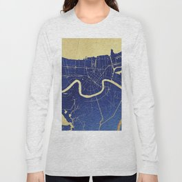 New Orleans Blue and Gold Map Long Sleeve T-shirt