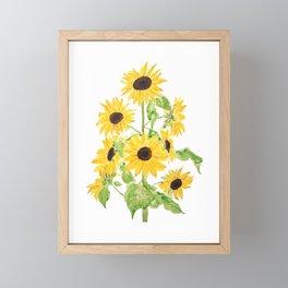 yellow sunflower watercolor painting 2021 Framed Mini Art Print