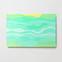 Ocean sunrise, waves in blue and green print  Metal Print