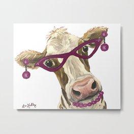 Cute Glasses Cow, Unique Cow Art Metal Print