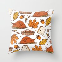 thanksgiving Throw Pillows featuring thanksgiving by Ceren Aksu Dikenci