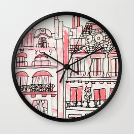 Pink Parisian Architecture Wall Clock