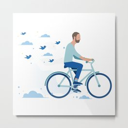bird man bike Metal Print