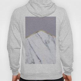 Smokey lilac - gold geometric marble Hoody