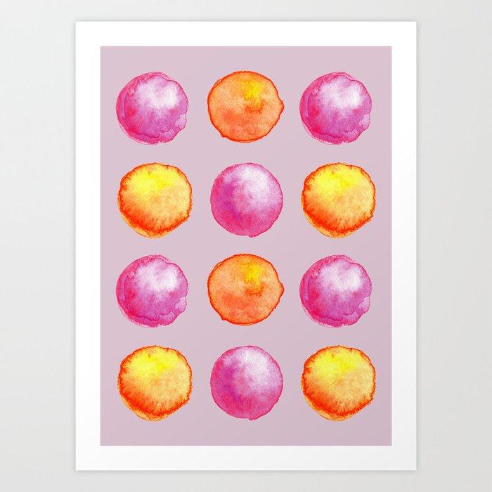 Juicy Watercolor Pink Pearls And Orange Fireballs Pattern Art Print