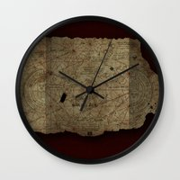 the goonies Wall Clocks featuring Goonies Treasure Map by IndestrucTibBo
