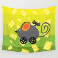 cheese Wall Tapestries featuring cheese lover by mangulica illustrations