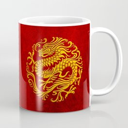 Traditional Yellow and Red Chinese Dragon Circle Coffee Mug