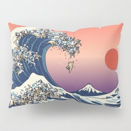 The Great Wave of Pug Red Pillow Sham