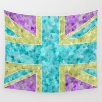 union jack Wall Tapestries featuring Floral Union Jack by Alice Gosling