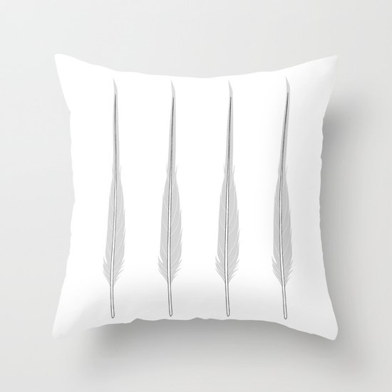 Grey Little Feather Throw Pillow