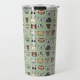 Wild Animal Portraits Green Texture Travel Mug