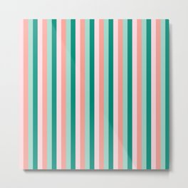 Soft Pink , Peach Amber, Yucca and Arbor Green Pinstripes Metal Print