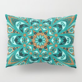 Copper and Teal Mandala Pillow Sham