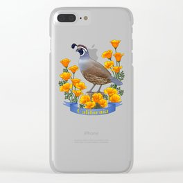 California State Bird Quail and Golden Poppy Clear iPhone Case