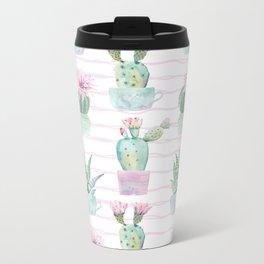 Cute Potted Cacti Stripe Pattern Metal Travel Mug