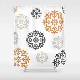 Flowers in Grey and Mustard Shower Curtain