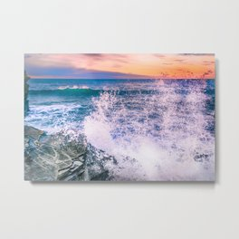 Surf Atlantic Rocky Coast Metal Print