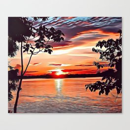 Jungle Sunset Airbrush Artwork Canvas Print