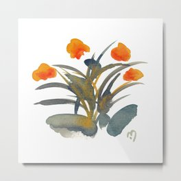 Atom Flowers #34 in orange and blue grey Metal Print