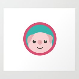 Cute pink pig with purple circle Art Print