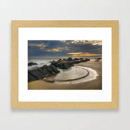 Windy Tarifa beach. Wild swiming pools. Framed Art Print