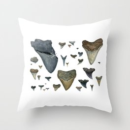 Fossil shark teeth watercolor Throw Pillow